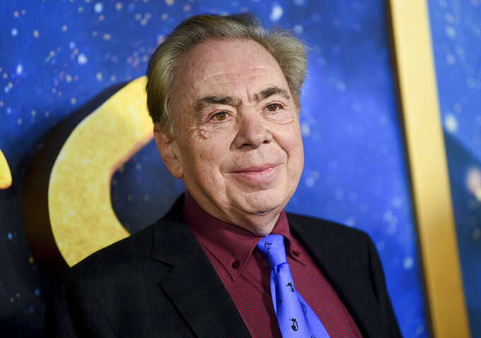 "FILE - This Dec. 16, 2019 file photo shows composer and executive producer Andrew Lloyd Webber attending the world premiere of ""Cats""  in New York. Webber is making some of his filmed musicals available for free on YouTube. On Friday, the 2000 West End adaption of ""Joseph and he Amazing Technicolor Dreamcoat"" starring Donny Osmond will be streamable, followed a week later by the rock classic ""Jesus Christ Superstar"" from the 2012 arena show starring Tim Minchin. (Photo by Evan Agostini/Invision/AP, FIle)"