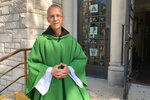 Rev. John Celichowski poses outside of the Saint Clare of Montefalco Catholic Church in Chicago. His congregation is made up of mostly immigrants and he used his Sunday homily to address community fears after President Donald Trump vowed stepped up immigration enforcements. (AP Photo/Sophia Tareen)