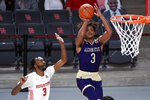 Alcorn State guard David Pierce, right, shoots as Houston guard DeJon Jarreau defends during the second half of an NCAA college basketball game, Sunday, Dec. 20, 2020, in Houston. (AP Photo/Eric Christian Smith)