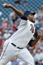 Minnesota Twins starting pitcher Michael Pineda throws to a New York Mets batter during the first inning of a baseball game Tuesday, July 16, 2019, in Minneapolis. (AP Photo/Bruce Kluckhohn)