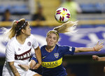 Boca Juniors' Camila Ares, right, fights for the ball with Lanus's Magali Molina during the Superliga women's tournament in Buenos Aires, Argentina, Saturday, March 9, 2019. (AP Photo/Natacha Pisarenko)