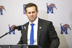 Memphis head football coach Ryan Silverfield speaks at a news conference Friday, Dec. 13, 2019, in Memphis, Tenn. Silverfield was named head coach Friday. (Ariel Cobbert/The Commercial Appeal via AP)