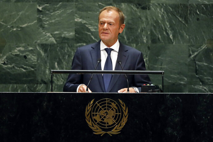 Donald Tusk, President of the European Council, addresses the 74th session of the United Nations General Assembly, Thursday, Sept. 26, 2019. (AP Photo/Richard Drew)