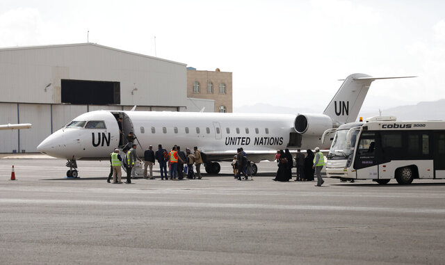 "Yemenis board a United Nation plane at Sanaa International airport, Yemen, Monday, Feb. 3, 2020. The United Nations medical relief flight carrying patients from Yemen's rebel-held capital was the first in over three years. The U.N. said eight patients and their families were flown to Egypt and Jordan to receive ""life-saving specialized care not available in Yemen."