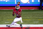 Rutgers wide receiver Bo Melton (18) catches a touchdown pass in the fourth quarter of an NCAA college football game against Indiana, Saturday, Oct. 31, 2020, in Piscataway, N.J. (AP Photo/Corey Sipkin)