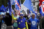Pro-EU supporters protest during rally in London, Tuesday, Sept. 3, 2019. Parliament was reconvening Tuesday for a pivotal day in British politics as lawmakers challenge British Prime Minister Boris Johnson's insistence that the U.K. will leave the European Union on Oct. 31, 2019 even without a deal. (AP Photo/Matt Dunham)