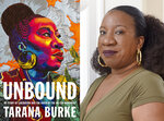 """This combination of photos shows cover art for """"Unbound: My Story of Liberation and the Birth of the Me Too Movement,"""" left, and a portrait of author Tarana Burke taken at her home in Baltimore on Oct. 13, 2020. (Flatiron Books via AP, left, and AP Photo)"""