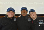 \Members of the Never Miss a Super Bowl Club, from left, Tom Henschel, Gregory Eaton and Don Crisman pose for a group photograph during a welcome luncheon in Atlanta on Friday, Feb. 1, 2019. (Hyosub Shin/Atlanta Journal-Constitution via AP)