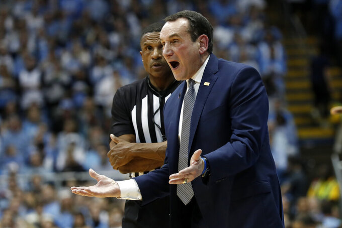 Duke head coach Mike Krzyzewski reacts during the first half of an NCAA college basketball game against North Carolina in Chapel Hill, N.C., Saturday, Feb. 8, 2020. (AP Photo/Gerry Broome)