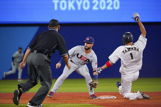 Japan's Tetsuto Yamada (1) steals second as United States' Eddy Alvarez looks for the throw during the ninth inning of a baseball game at the 2020 Summer Olympics, Monday, Aug. 2, 2021, in Yokohama, Japan. (AP Photo/Sue Ogrocki)
