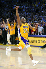 FILE - In this June 17, 2010, file photo, Los Angeles Lakers guard Kobe Bryant react as in the final second of Game 7 of the NBA basketball finals against the Boston Celtics in Los Angeles. Bryant was one of eight finalists announced Friday, Feb. 14, 2020, as candidates for enshrinement into the Basketball Hall of Fame later this year, a decision that came as absolutely no surprise in his first year of eligibility. (AP Photo/Mark J. Terrill, File)