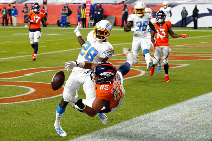 Los Angeles Chargers cornerback Brandon Facyson (28) interferes with the pass as Denver Broncos tight end Albert Okwuegbunam (85) falls during the second half of an NFL football game, Sunday, Nov. 1, 2020, in Denver. The penalty set up the game-tying touchdown for the Broncos. The Broncos won 31-30. (AP Photo/David Zalubowski)