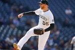 Colorado Rockies starting pitcher Jon Gray works against the San Francisco Giants in the sixth inning of a baseball game Wednesday, May 5, 2021, in Denver. (AP Photo/David Zalubowski)