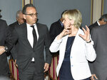 German Foreign Minister Heiko Maas, left, and Sweden's Foreign Minister Margot Wallstrom prior to the meeting on nuclear disarmament and the non-proliferation treaty, at the Grand Hotel in Stockholm, Tuesday June 11, 2019. (Claludio Bresciani/TT via AP)