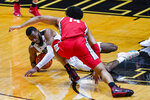 Purdue forward Aaron Wheeler (1) grabs a loose ball in front of Ohio State forward Justice Sueing (14) during the second half of an NCAA college basketball game in West Lafayette, Ind., Wednesday, Dec. 16, 2020. (AP Photo/Michael Conroy)
