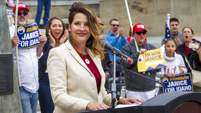 FILE - In this May 19, 2021, file photo, Lt. Gov. Janice McGeachin announces her candidacy to become governor of Idaho at a rally on the Statehouse steps in Boise, Idaho. Lt. Gov. McGeachin on Thursday, May 27, 2021, issued an executive order banning mask mandates statewide among state political entities and schools. McGeachin is acting governor while Republican Gov. Brad Little is out of state at the Republican Governors Association conference. (Darin Oswald/Idaho Statesman via AP, File)