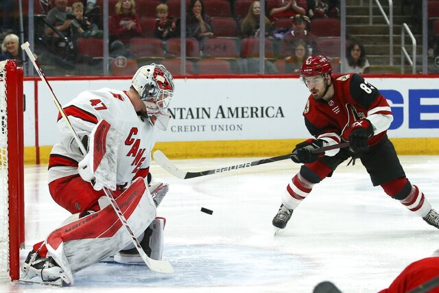 Carolina Hurricanes goaltender James Reimer (47) makes a save on a shot by Arizona Coyotes right wing Conor Garland (83) during the second period of an NHL hockey game Thursday, Feb. 6, 2020, in Glendale, Ariz. (AP Photo/Ross D. Franklin)