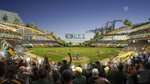 FILE - This rendering provided by the Oakland Athletics and BIG - Bjarke Ingels Group shows an interior view of the baseball club's proposed new ballpark at Howard Terminal in Oakland, Calif. The Oakland City Council approved preliminary terms for a new $12 billion waterfront ballpark project for the Athletics, Tuesday, July 20, 2021. But it's not clear if the 6-1 vote will be enough to keep the A's at the negotiating table instead of leaving the city. (Courtesy of BIG - Bjarke Ingels Group/Oakland Athletics via AP, File)
