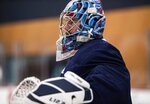 Seattle Kraken goaltender Philip Grubauer (31) watches before the start of a drill  during NHL hockey training camp at Kraken Community Iceplex on Thursday, Sept. 23, 2021, in Seattle. (Amanda Snyder/The Seattle Times via AP)