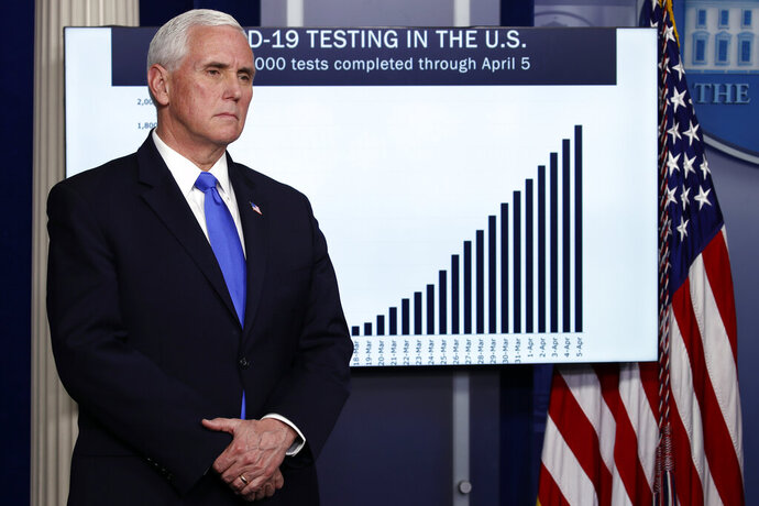 "FILE - In this Monday, April 6, 2020, file photo, Vice President Mike Pence listens as President Donald Trump speaks about the coronavirus at the White House in Washington. Pence, in a June 16, 2020, op-ed in The Wall Street Journal, said the public health system is ""far stronger"" than it was when coronavirus hit. (AP Photo/Alex Brandon)"
