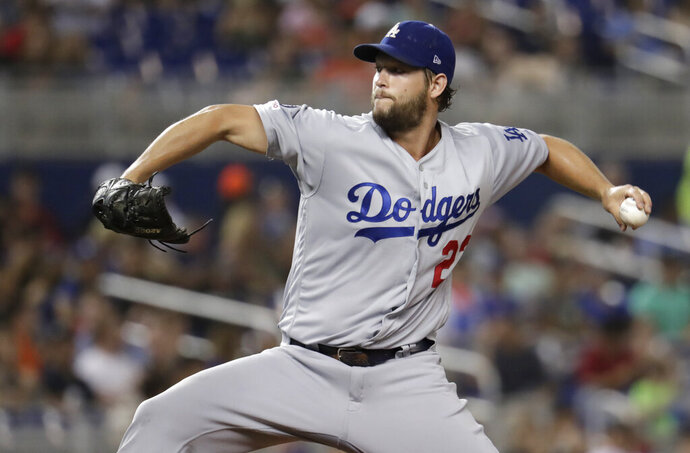 Los Angeles Dodgers starting pitcher Clayton Kershaw throws during the fourth inning of the team's baseball game against the Miami Marlins, Wednesday, Aug. 14, 2019, in Miami. (AP Photo/Lynne Sladky)