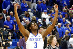 Kentucky's Tyrese Maxey celebrates the team's 78=70 overtime win against Louisville in an NCAA college basketball game in Lexington, Ky., Saturday, Dec. 28, 2019. (AP Photo/James Crisp)