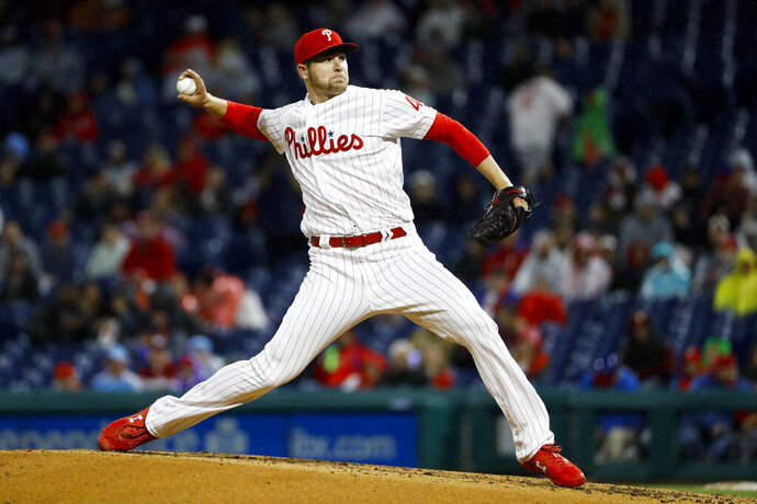 Philadelphia Phillies' Jerad Eickhoff pitches during the third inning of a baseball game against the Miami Marlins, Friday, April 26, 2019, in Philadelphia. (AP Photo/Matt Slocum)