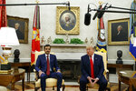 President Donald Trump speaks during a meeting with Qatar's Emir Sheikh Tamim Bin Hamad Al-Thani in the Oval Office of the White House, Tuesday, July 9, 2019, in Washington. (AP Photo/Evan Vucci)