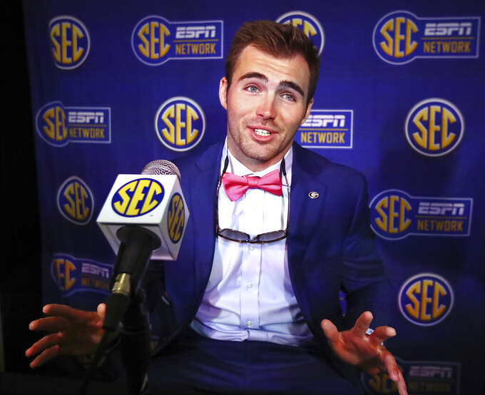Georgia quarterback Jake Fromm speaks during a press conference at the Southeastern Conference NCAA college football media days in Hoover, Ala., Tuesday, July 16, 2019. (Curtis Compton /Atlanta Journal-Constitution via AP)