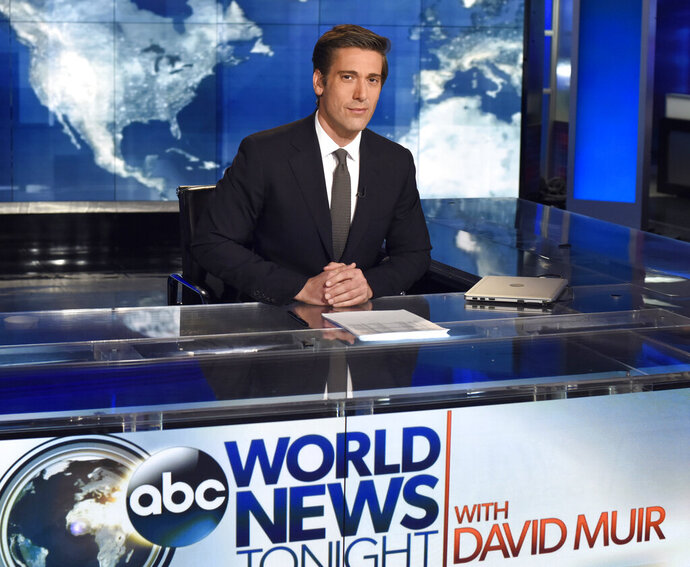 This undated image released by ABC shows anchor David Muir on the set of