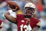 Boston College quarterback Anthony Brown passes during the first half of an NCAA college football game against Louisville in Boston, Saturday, Oct. 13, 2018. (AP Photo/Michael Dwyer)