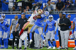 San Francisco 49ers cornerback Dontae Johnson breaks up a pass intended for Detroit Lions wide receiver Trinity Benson (17) in the second half of an NFL football game in Detroit, Sunday, Sept. 12, 2021. (AP Photo/Duane Burleson)