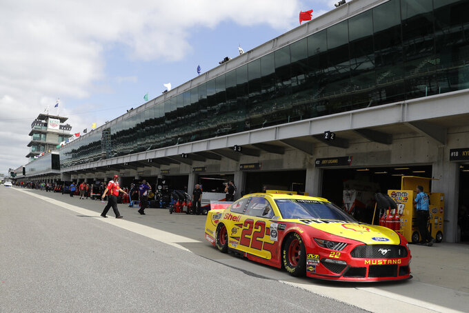 Monster Energy NASCAR Cup Series driver Joey Logano pulls out of the garage during practice for the NASCAR Brickyard 400 auto race at the Indianapolis Motor Speedway, Saturday, Sept. 7, 2019 in Indianapolis. (AP Photo/Darron Cummings)