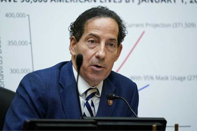 FILE - In this Oc. 2, 2020, file photo Rep. Jamie Raskin, D-Md., speaks as Secretary of Health and Human Services Alex Azar testifies to the House Select Subcommittee on the Coronavirus Crisis, on Capitol Hill in Washington. After a violent mob launched a deadly insurrection at the U.S. Capitol that forced Raskin and his colleagues to evacuate. the Maryland Democrat and former constitutional law professor is leading the effort to remove President Donald Trump from office for inciting the riot. (AP Photo/J. Scott Applewhite, Pool, File)