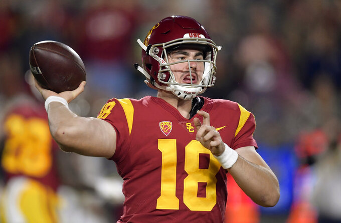 Southern California quarterback JT Daniels throws a pass during the first half of the team's NCAA college football game against Notre Dame Saturday, Nov. 24, 2018, in Los Angeles. (AP Photo/Mark J. Terrill)