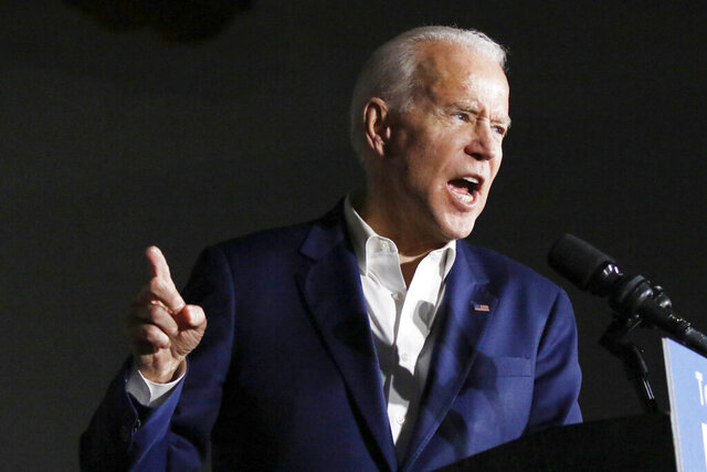 Democratic presidential candidate and former Vice President Joe Biden speaks at Tougaloo College in Tougaloo, Miss., Sunday, March 8, 2020. (AP Photo/Rogelio V. Solis)