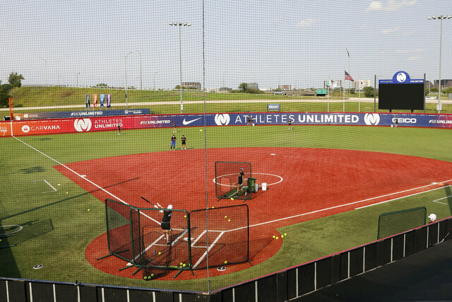 Players for Athletes Unlimited practice on Wednesday, Sept. 16, 2020, in Rosemont, Ill. Elite players are living life in a bubble to prevent the spread of COVID during the inaugural Athletes Unlimited softball season. When they're not at the ballpark or an indoor facility across the parking lot, they are at their hotel or apartment. Everywhere else is off limits to them. (AP Photo/Teresa Crawford)