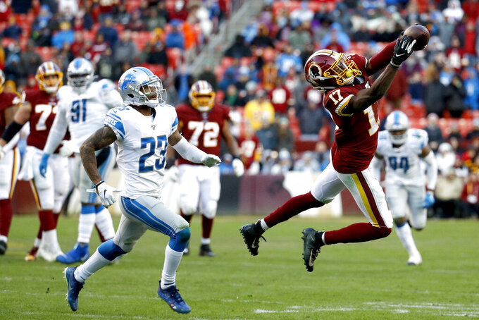 Washington Redskins wide receiver Terry McLaurin (17) makes a catch against Detroit Lions cornerback Darius Slay (23) during the second half of an NFL football game, Sunday, Nov. 24, 2019, in Landover, Md. The Redskins won 19-16. (AP Photo/Patrick Semansky)