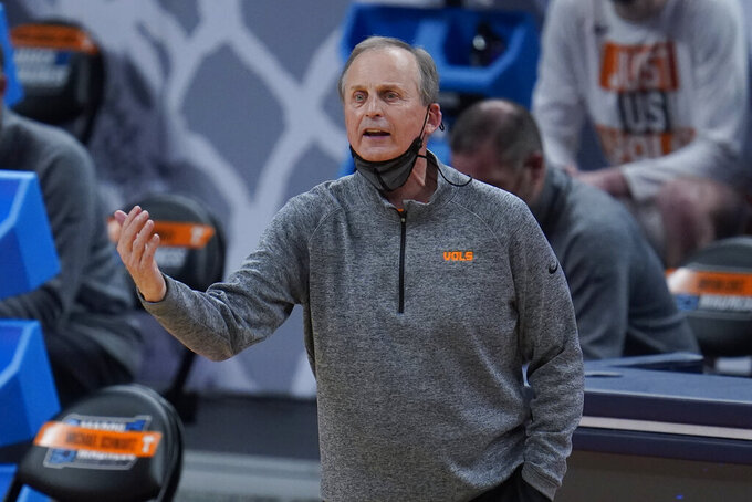 Tennessee head coach Rick Barnes gestures against Oregon State during the second half of a men's college basketball game in the first round of the NCAA tournament at Bankers Life Fieldhouse in Indianapolis, Friday, March 19, 2021. (AP Photo/Paul Sancya)