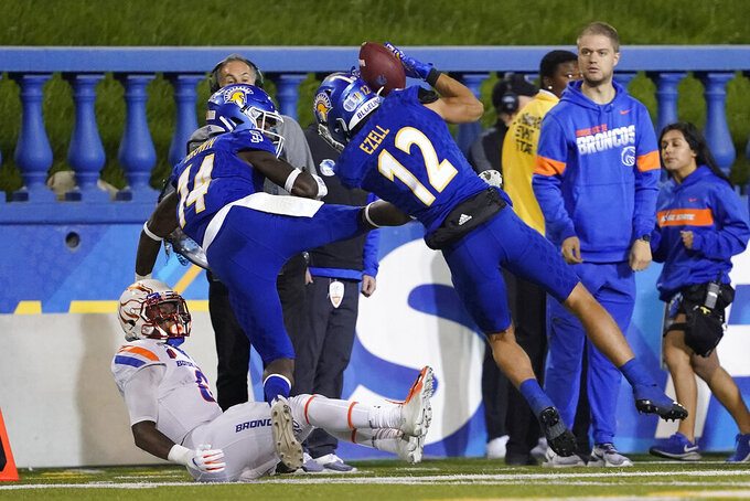 San Jose State cornerback Brandon Ezell (12) intercepts a Boise State pass during the first half of an NCAA college football game in San Jose, Calif., Saturday, Nov. 2, 2019. (AP Photo/Tony Avelar)