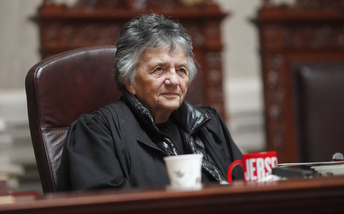 Wisconsin Supreme Court Justice Shirley Abrahamson is recognized by other justices after the conclusion of her last oral arguments at the Wisconsin State Capitol in Madison, Wisconsin Wednesday, May 15, 2019. (Steve /Wisconsin State Journal via AP)