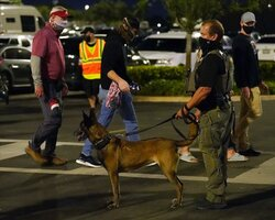 A security officer checks as fans arrive for an NCAA College Football Playoff national championship game between Alabama and Ohio State Monday, Jan. 11, 2021, in Miami Gardens, Fla. (AP Photo/Chris O'Meara)