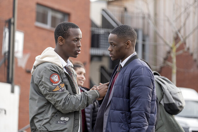 This image released by Paramount Pictures shows Micheal Ward as Marco, left, and Stephen Odubola as Timmy in a scene from