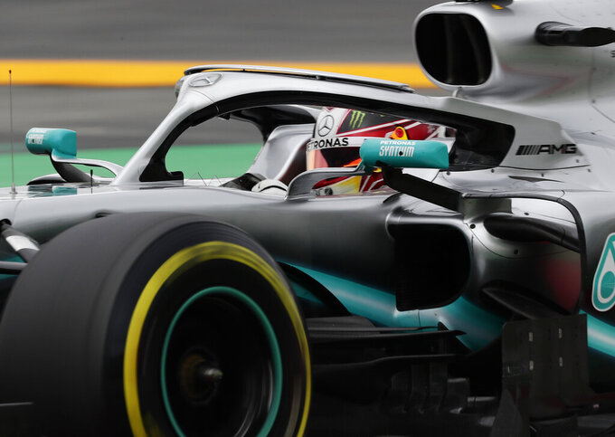 Mercedes driver Lewis Hamilton of Britain steers his car during the third free practice at the Barcelona Catalunya racetrack in Montmelo, just outside Barcelona, Spain, Saturday, May 11, 2019. The Formula One race will take place on Sunday. (AP Photo/Manu Fernandez)