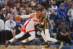 Houston Rockets guard Russell Westbrook (0) drives against Oklahoma City Thunder guard Shai Gilgeous-Alexander (2) during the first half of an NBA basketball game Thursday, Jan. 9, 2020, in Oklahoma City. (AP Photo/Sue Ogrocki)