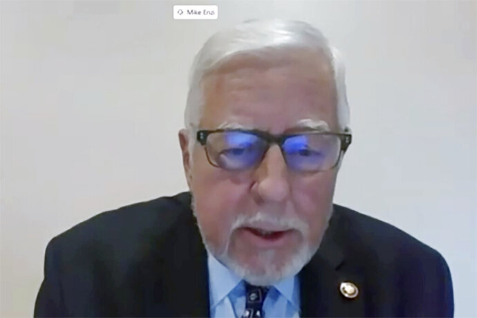 In this image from video, Sen. Mike Enzi, R-Wyo., speaks during a virtual video hearing before the Senate Governmental Affairs Committee on the U.S. Postal Service during COVID-19 and the upcoming elections, Friday, Aug. 21, 2020 on Capitol Hill in Washington. (U.S. Senate Committee on Homeland Security & Governmental Affairs via AP)