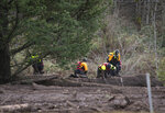 Search and rescue crews use metal rods to poke through the mud as they continue to search for a missing woman whose car was swept away by a landslide Wednesday in the Dodson area of the Columbia River Gorge, in Oregon, Thursday, Jan. 14, 2021. Authorities said in social media posts that they have found part of the SUV that 50-year-old Jennifer Camus Moore, of Warrendale, Ore., was driving when she was swept away Wednesday but have not located her. (Brooke Herbert/The Oregonian via AP)
