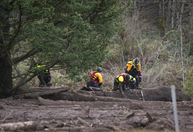 FILE - In this Thursday, Jan. 14, 2021 file photo, Search and rescue crews use metal rods to poke through the mud as they continue to search for a missing woman whose car was swept away by a landslide Wednesday in the Dodson area of the Columbia River Gorge, in Oregon. Sheriff's deputies and firefighters on Saturday, Jan. 23, 2021 recovered the body of an Oregon woman whose vehicle was swept away in a deep mudslide during a winter storm last week. Jennifer Camus Moore, a registered nurse from Warrendale, Oregon, was driving in the Columbia River Gorge early Wednesday when her SUV was buried under about 15 feet of mud, rock and trees.  (Brooke Herbert/The Oregonian via AP, File)