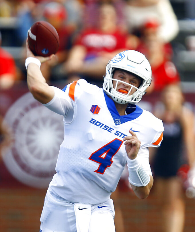 Boise State quarterback Brett Rypien (4) throws a pass during the first half of an NCAA college football game against Troy, Saturday, Sept. 1, 2018, in Troy, Ala. (AP Photo/Butch Dill)