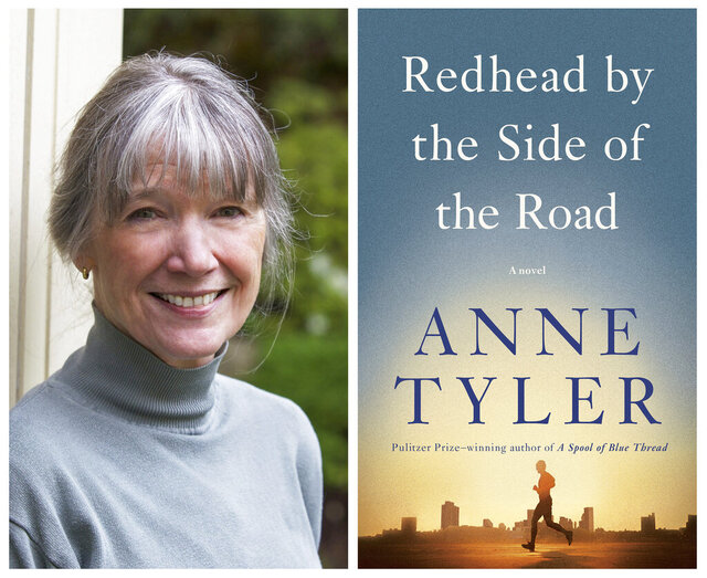 This combination photo shows a portrait of author Anne Tyler, left, and the cover of her latest book,